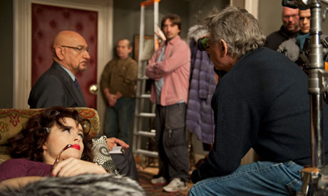 Ben Kingsley, helena Bonham-Carter and Roman Polanski on the set of A Therapy